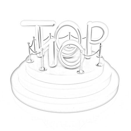 top ten: Top ten icon on white background. 3d rendered image
