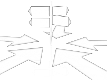 blank road sign: 3D blank road sign and arrows way on a white background