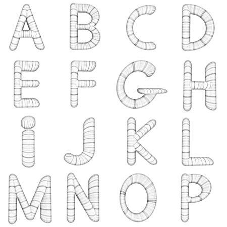 prinitng block: Wooden Alphabet set on a white background Stock Photo
