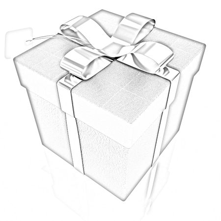 pencil drawings: Leather gift-box with gold ribbon