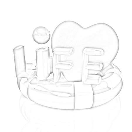 lifesaving: Heart and life belt. Concept of life-saving