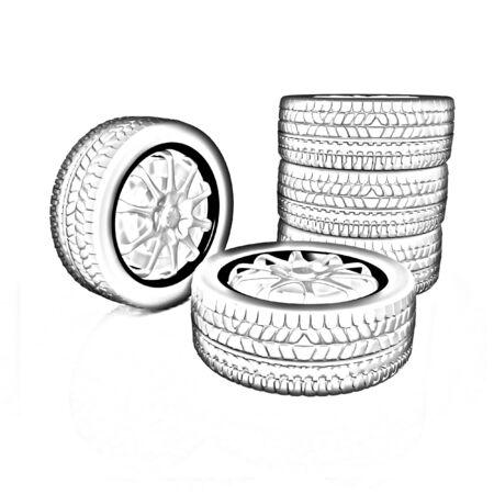 ring road: car wheel illustration on white background