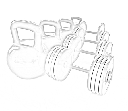 weights: Colorful weights and dumbbells on a white background Stock Photo