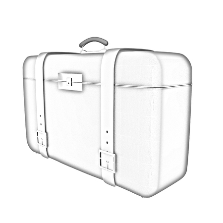 Brown travelers suitcase on a white background