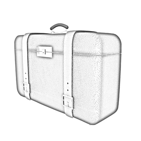 Black travelers suitcase on a white background