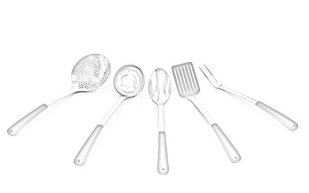 stainless steel kitchen: cutlery on white background Stock Photo