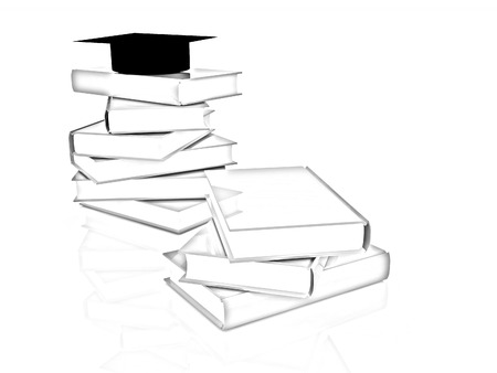 alumna: Graduation hat with books on a white background