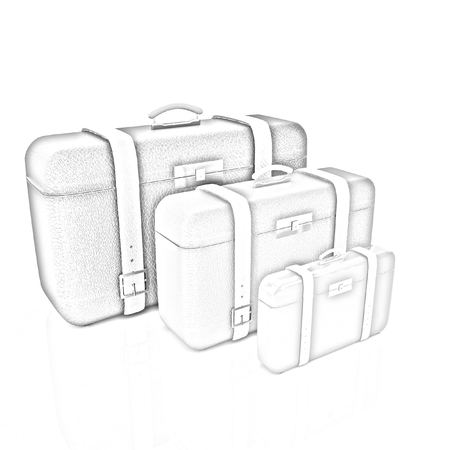 Travelers suitcases. Family travel concept
