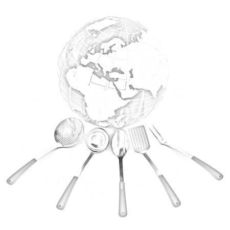 sizzle: cutlery on white background around Earth