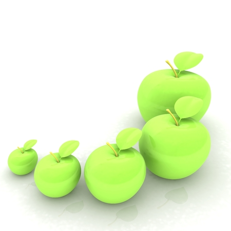 smallest: One large apple and apples around - from the smallest to largest. Dieting concept