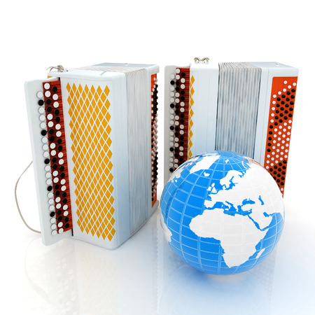 concertina: Musical instruments - bayans and Earth. Global musical concept Stock Photo