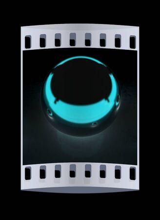 chrome ball: Chrome Ball on a black background. The film strip Stock Photo