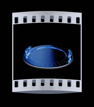 silver ware: Gold salver on a black background. The film strip