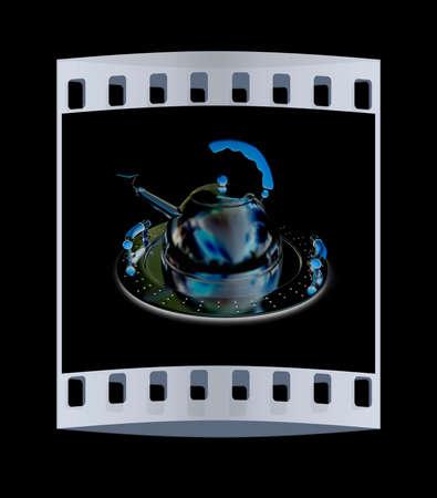 Chrome teapot on platter on a black background. The film strip Stock Photo