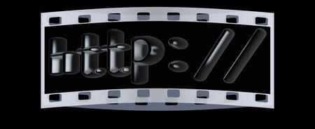 http: 3d illustration internet metal sign http: on a black background. The film strip