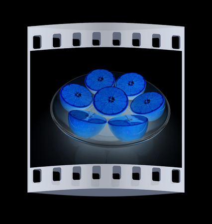 plant antioxidants: half oranges on a plate on a black background. The film strip