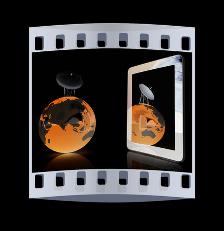 The concept of mobile high-speed Internet and planet earth on a black background. The film strip