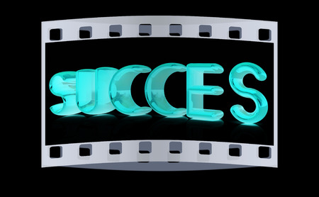 succes: 3d text succes on a black background. The film strip