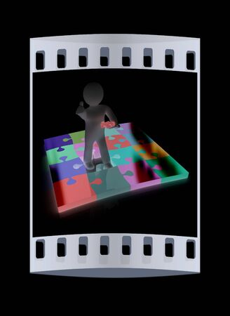 missing piece: 3d people - missing piece - jigsaw. 3d render. The concept of niche on a black background. The film strip