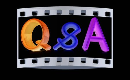 qs: 3d colorful text Q&S on a black background. The film strip Stock Photo