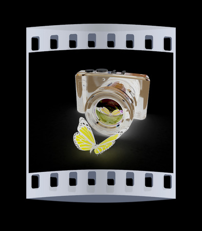 3d illustration of photographic camera and butterfly on black background. The film strip
