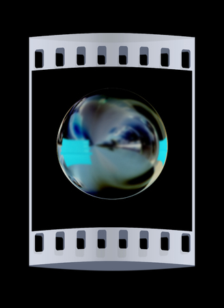 chrome ball: Chrome Ball 3d render on a black background. The film strip Stock Photo