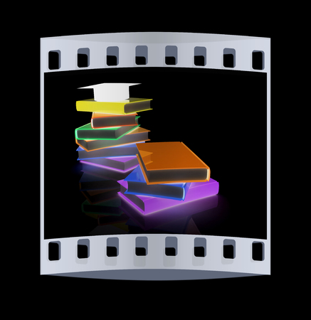 Graduation hat with books on a black background. The film strip