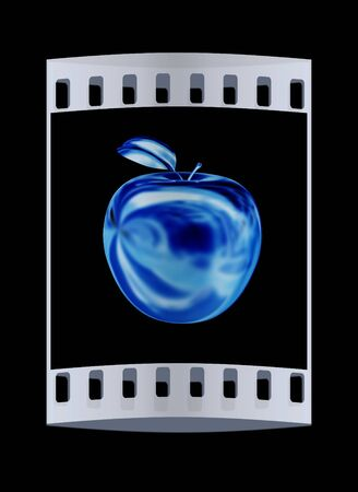 fruit stalk: Gold apple isolated on black background. The film strip Stock Photo