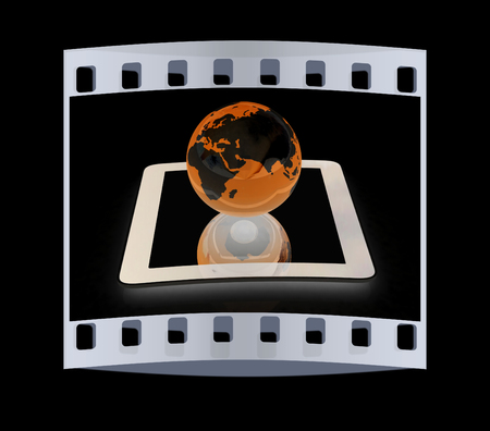 Phone and earch on black background.Global internet concept. The film strip