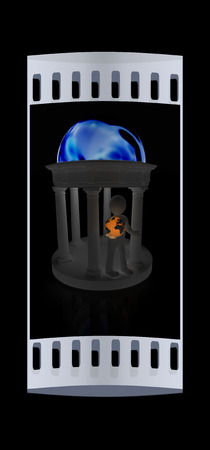 rotunda: 3d man in rotunda with earth on a black background. The film strip Stock Photo