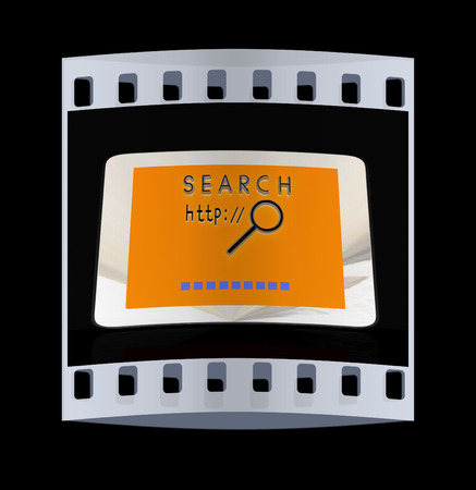 gprs: phone search on a black background. The film strip Stock Photo