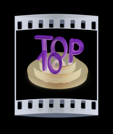 top ten: Top ten icon on black background. 3d rendered image. The film strip with place for your text