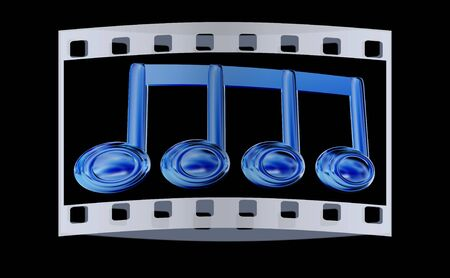 melodies: Music note on a black background. The film strip