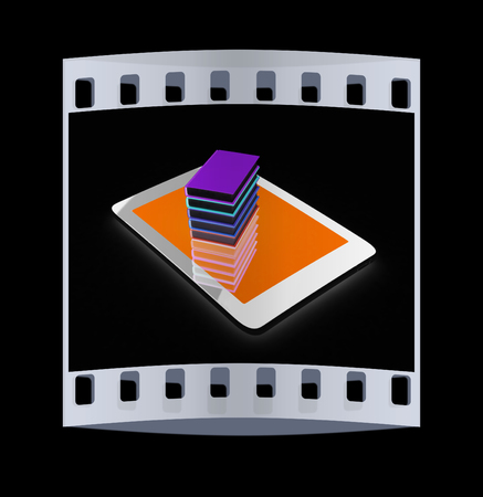 multitouch: tablet pc and colorful real books on black background. The film strip