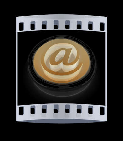 ed: 3d button email Internet push  on a black background. The film strip Stock Photo