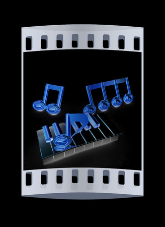 minims: 3d note on a piano on a black background. The film strip