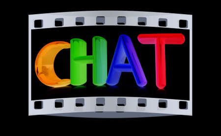 webmater: colorful 3d text chat on a black background. The film strip