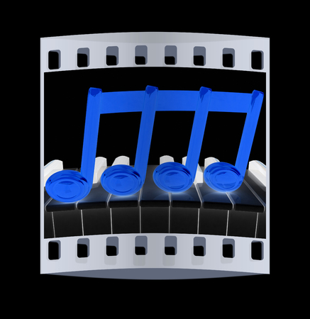 minims: 3d note on a piano. The film strip Stock Photo