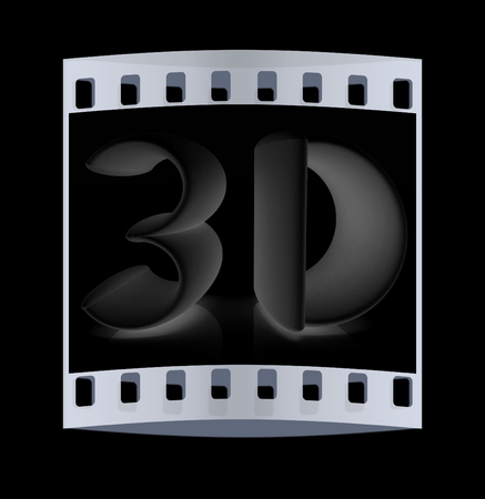 stereoscope: 3d text on a black background. The film strip Stock Photo