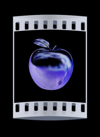 fruit stalk: Metal apple isolated on black background. The film strip