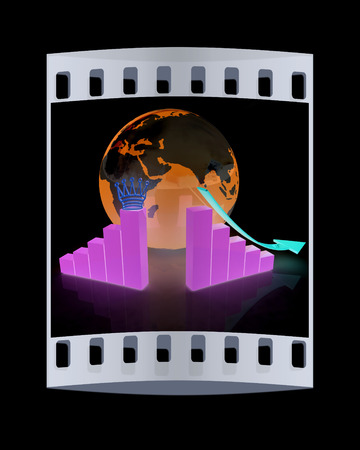 making earth: Business failure and growth graph. On line financial network. The film strip Stock Photo