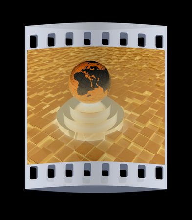 against abstract: earth on podium against abstract urban background. The film strip Stock Photo