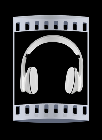 headset voice: headphones on a black background. The film strip