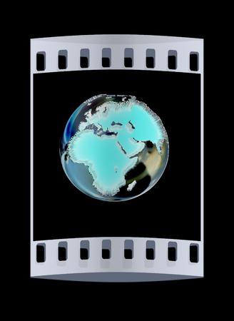 realist: 3d illustration chrome of earth globe over black background. The film strip