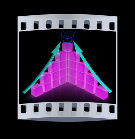 infra construction: cubic diagramatic structure and crown on a black background. The film strip