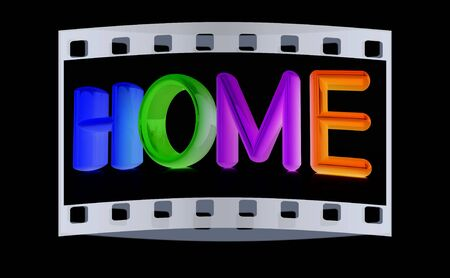 family in front of house: 3d colorful text home on a black background. The film strip Stock Photo