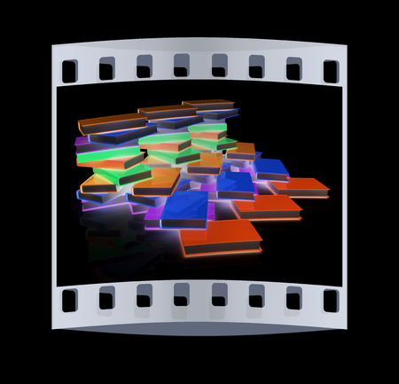 learning series: colorful real books on a black background. The film strip