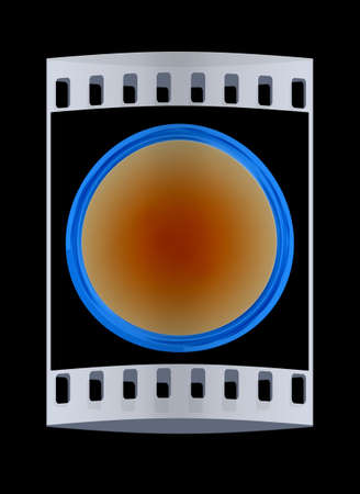 shiny button: Shiny button isolated on black background. The film strip Stock Photo