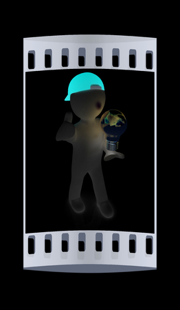 florescent light: 3d man with light bulb on black. The film strip