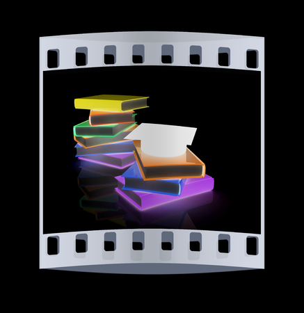 alumna: Graduation hat with books on a black background. The film strip